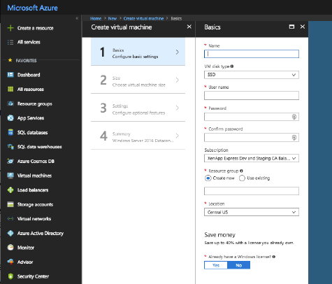 Azure Resource Manager Create virtual machine page