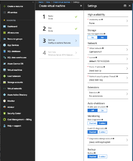 Azure Resource Manager VM settings page