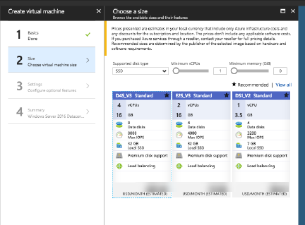 Azure Resource Manager VM size page