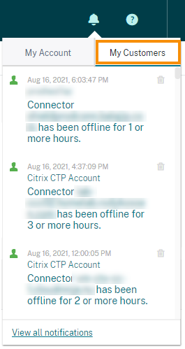 Citrix Cloud Notifications icon with My Customers notification area highlighted