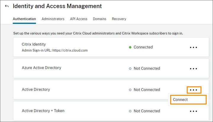 Connect menu for Active Directory