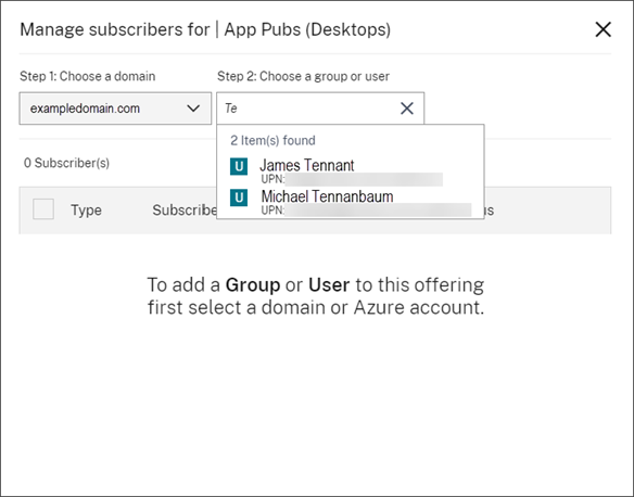 Manage Subscribers dialog with user search results