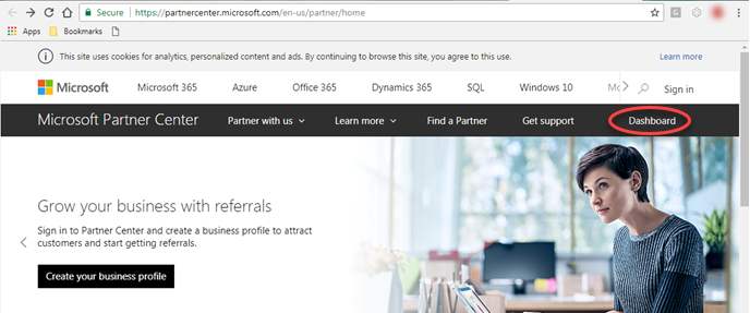 Microsoft Partner Center dashboard