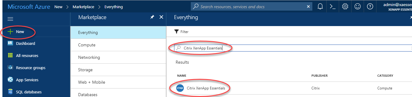 Find and select Citrix Virtual Apps Essentials