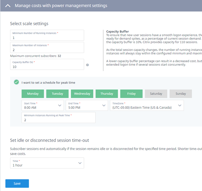 Virtual Apps Essentials power management settings page