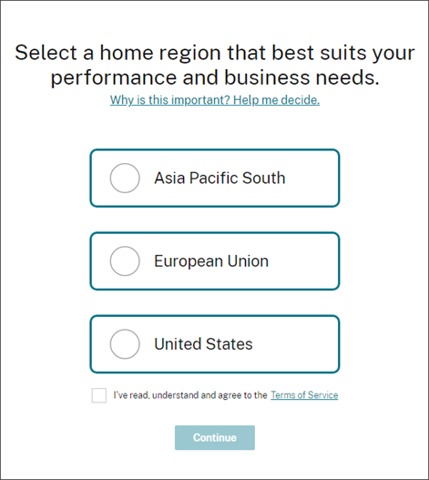 Citrix Cloud region selection page