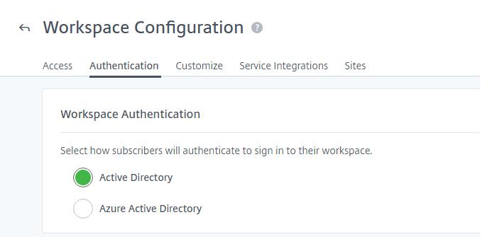 Paramètres d'authentification à l'espace de travail