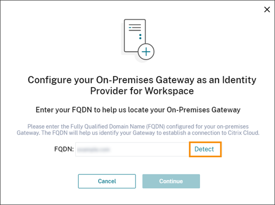 Gateway FQDN dialog with Detect command highlighted