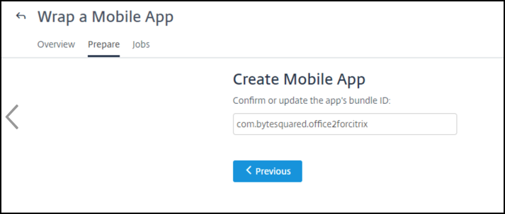 Create Mobile App page