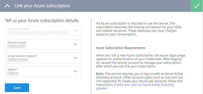 Virtual Apps Essentials link Azure subscription page