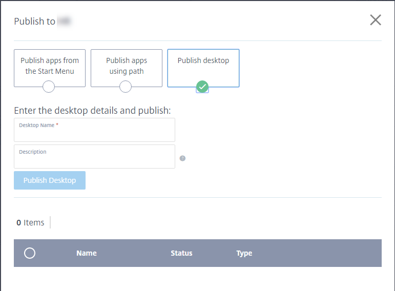 Publish Desktop page