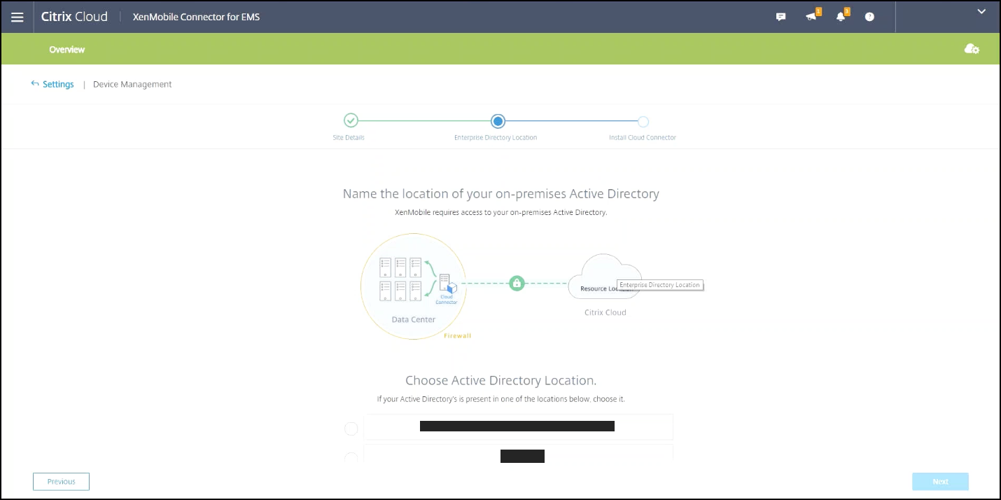 Option für den Active Directory-Ort