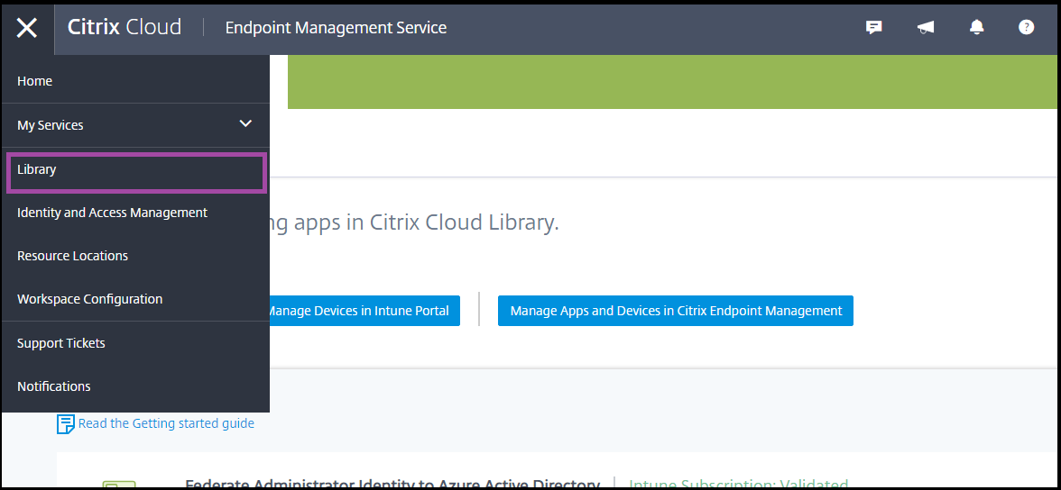 "Seite ""Bibliothek"" in Citrix Cloud"