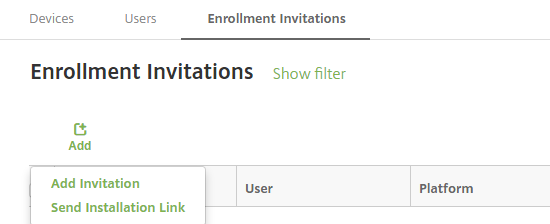 Image of Add Invitation menu