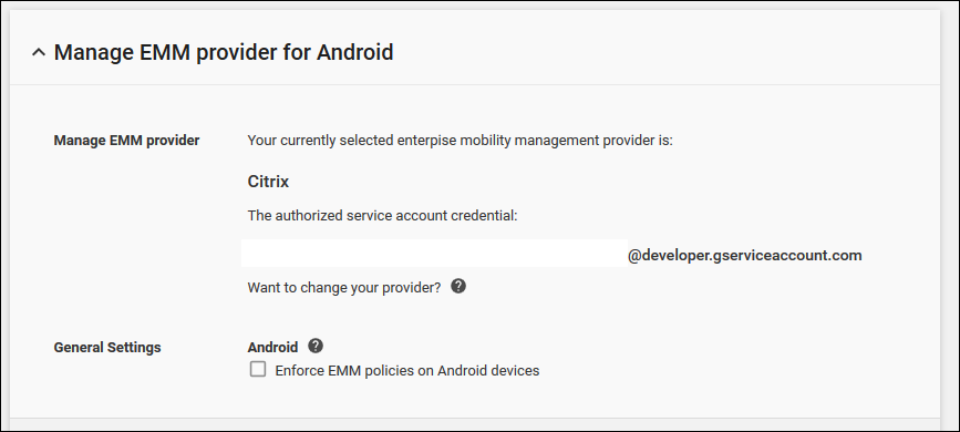 The Manage EMM provide for Android options