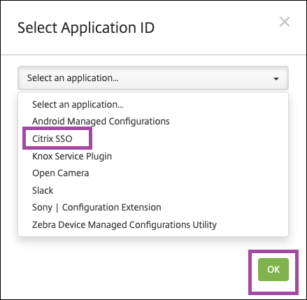 Select Application ID window