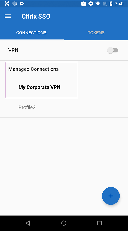 Managed Connection area of SSO app on device
