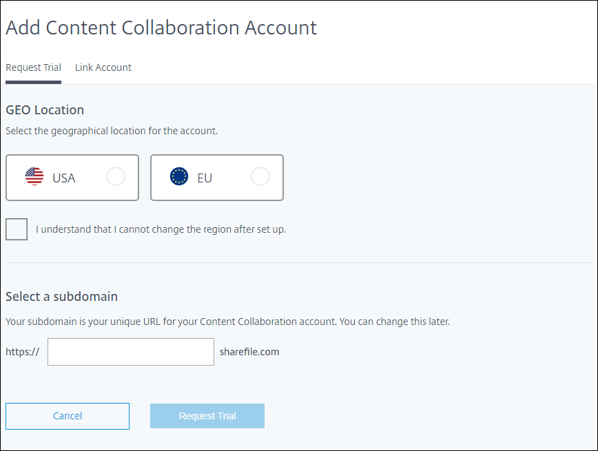 Add Content Collaboration Account screen
