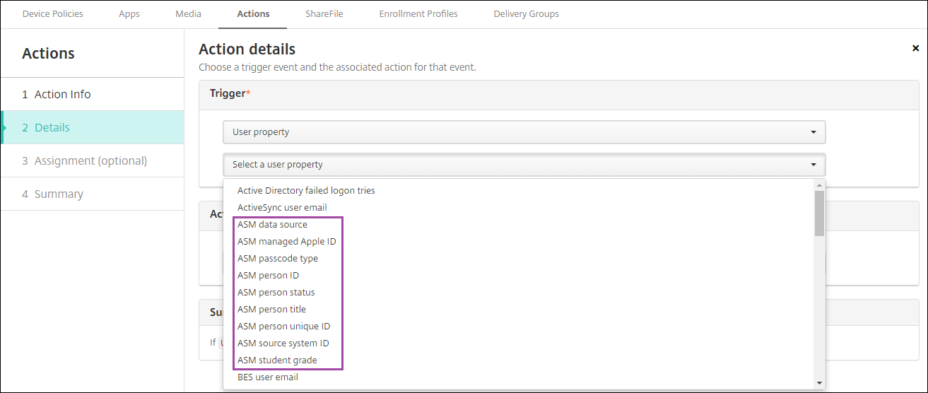 Image of Actions configuration screen