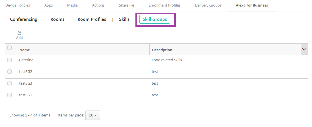 Image of Endpoint Management console configuring Alexa for Business skill groups