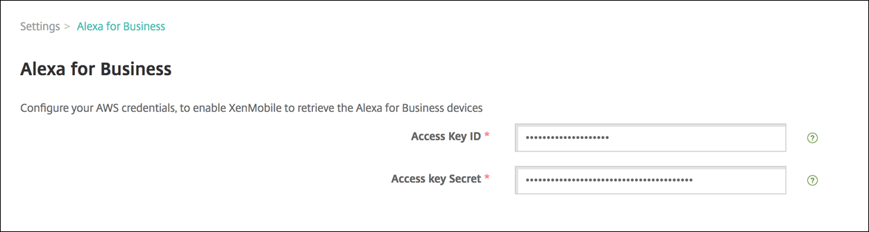 Image of Endpoint Management console entering Alexa for Business keys