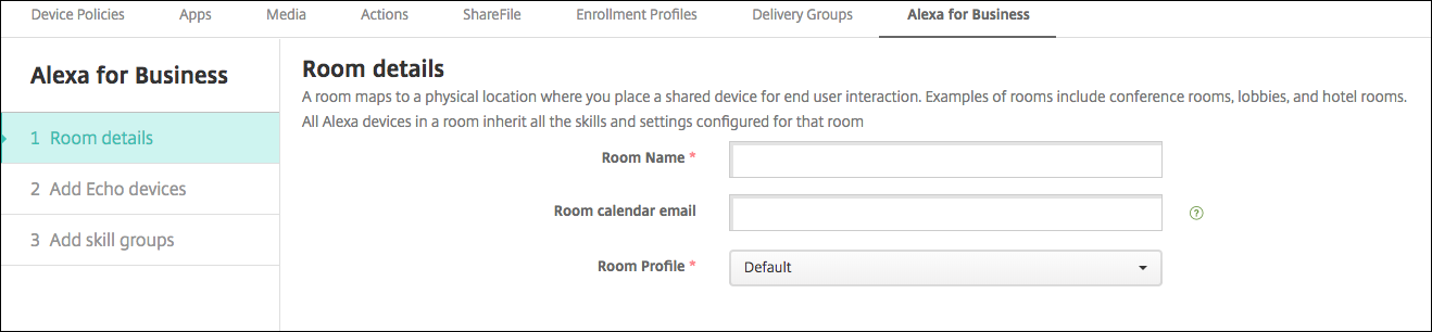 Image of Endpoint Management console entering Alexa for Business room settings