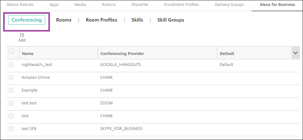 Image of Endpoint Management console configuring Alexa for Business conferencing