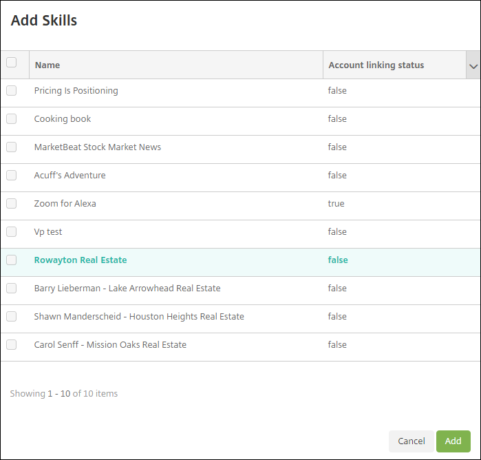 Image of Endpoint Management console Alexa for Business selecting skills for skill group