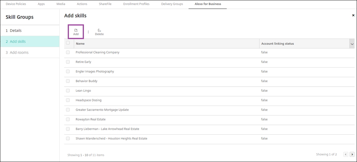 Image of Endpoint Management console entering Alexa for Business skill groups settings