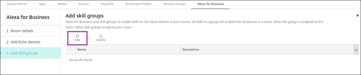 Image of Endpoint Management console Alexa for Business add skill groups to room