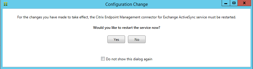 the connector for Exchange ActiveSync setup screen