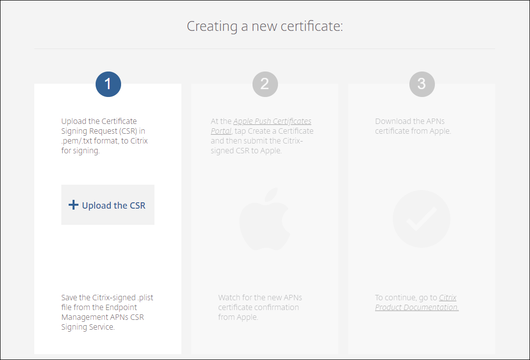 Image of Create certificate page