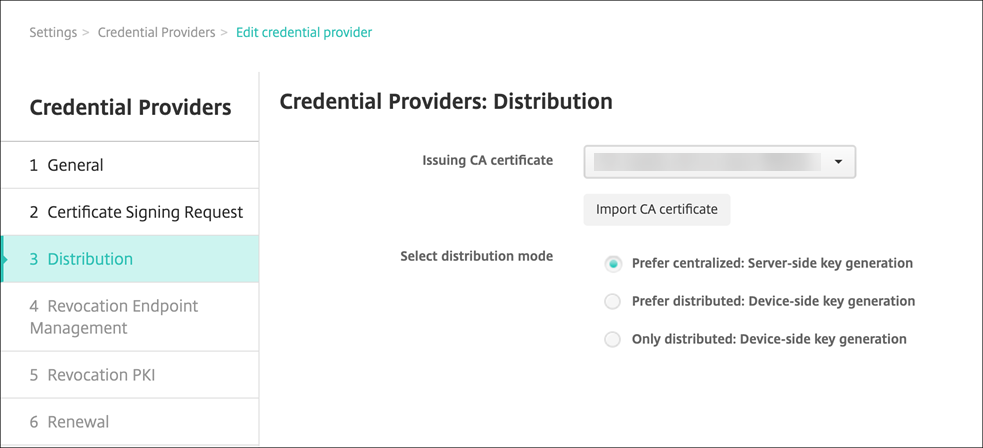 Credential provider distribution page