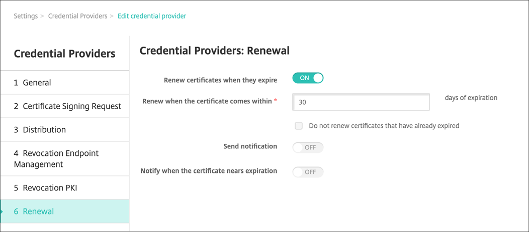 Credential provider renewal page