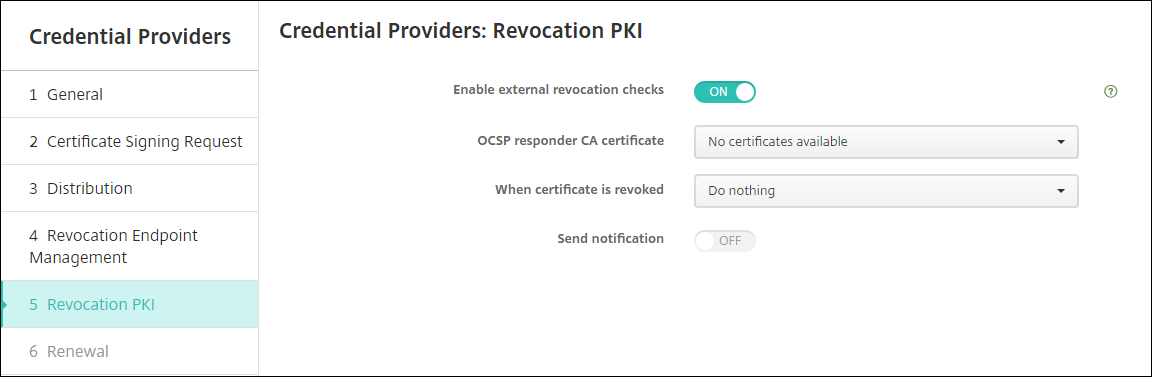 Credential provider revocation PKI page