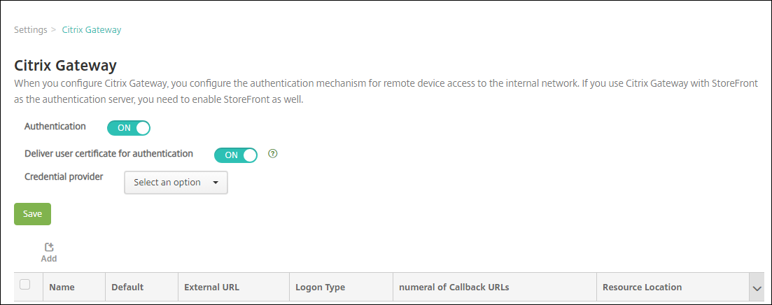Écran de configuration de Citrix Gateway