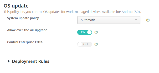 Device Policies configuration screen