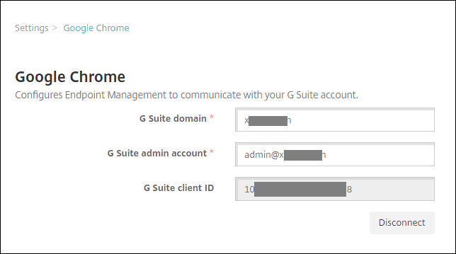 Image of Endpoint Management console, showing Google Chrome connected
