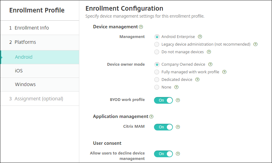 Enrollment Profile page for Android