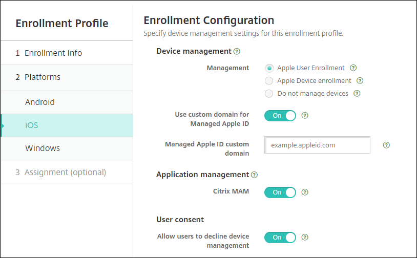 Enrollment Profile page for iOS