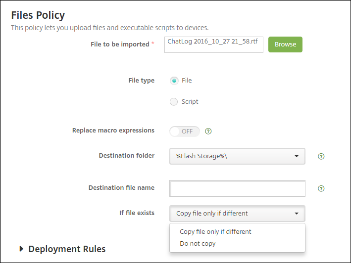 Image of Files device policy for Android Enterprise