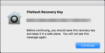 Pantalla de usuario de FileVault