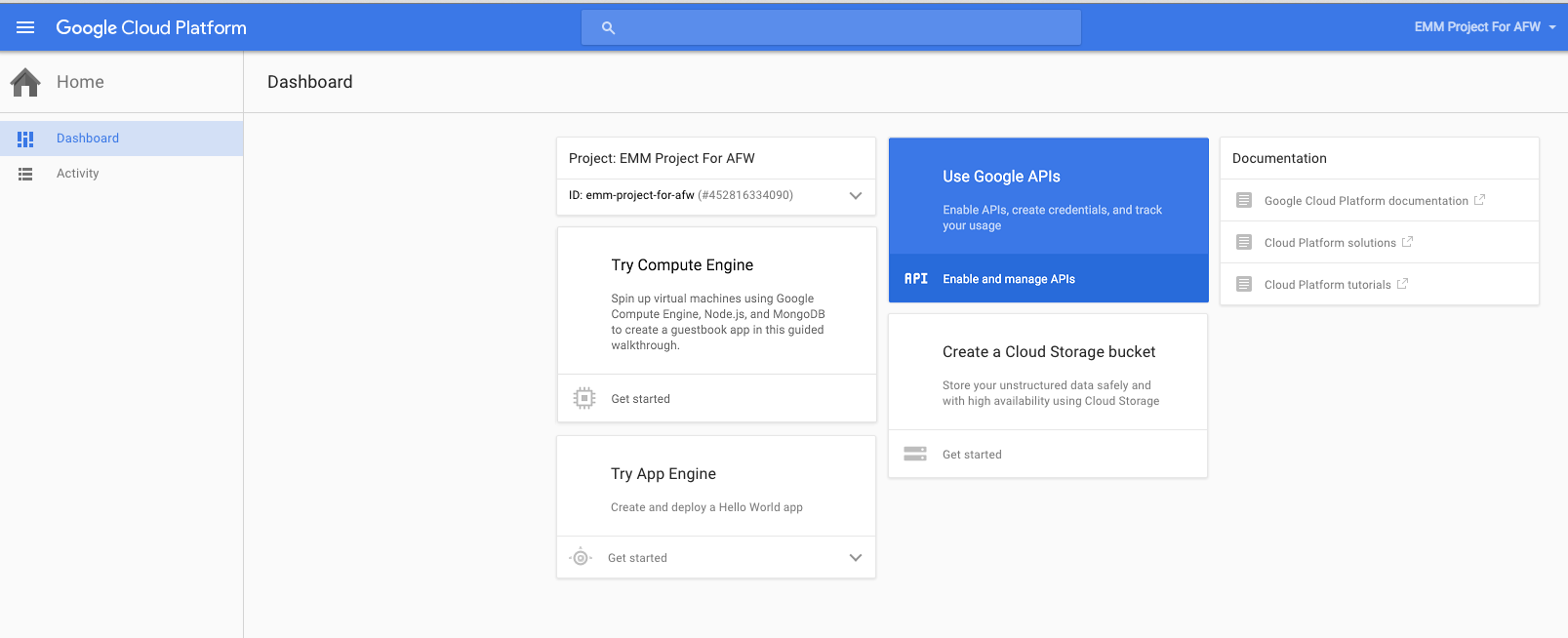 The Use Google APIs option