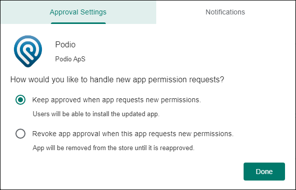 Google Play approval settings