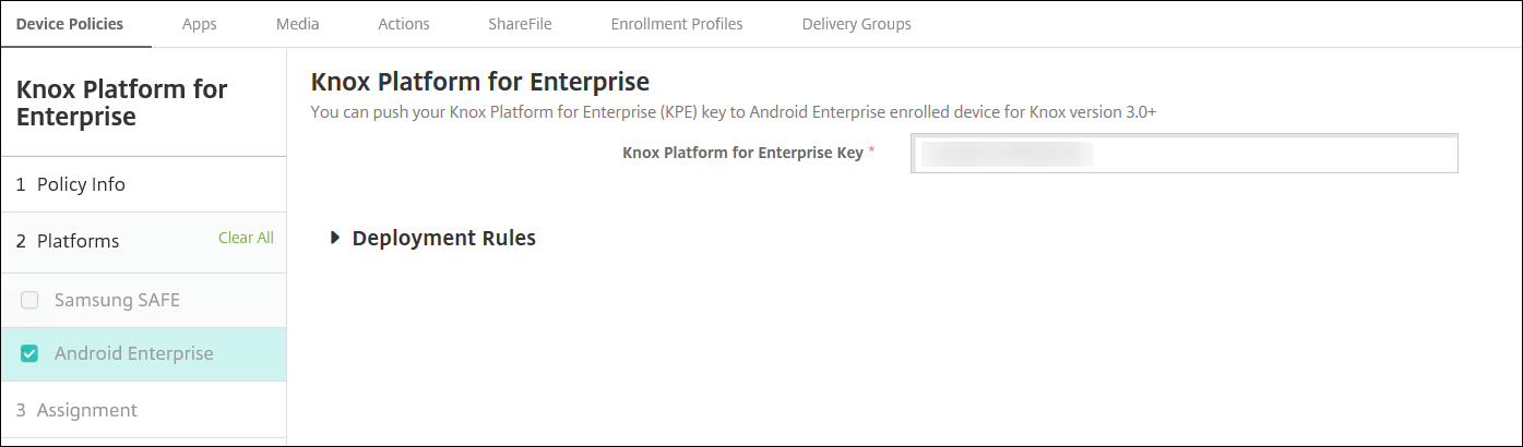 Directiva de Knox Platform for Enterprise para la plataforma Android Enterprise