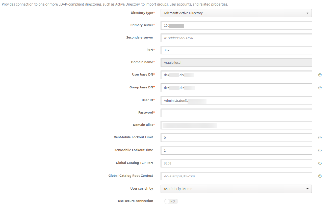 Image of Endpoint Management LDAP settings screen