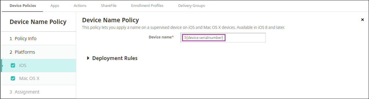 Image of macro in Device Policy configuration screen