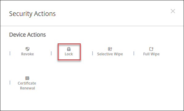 The Security Actions dialog box