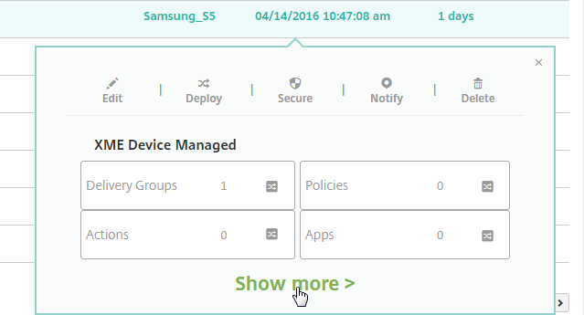 Manage Devices screen