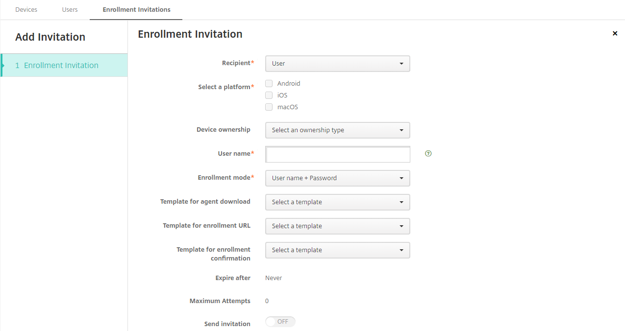 Image of Enrollment Invitation settings